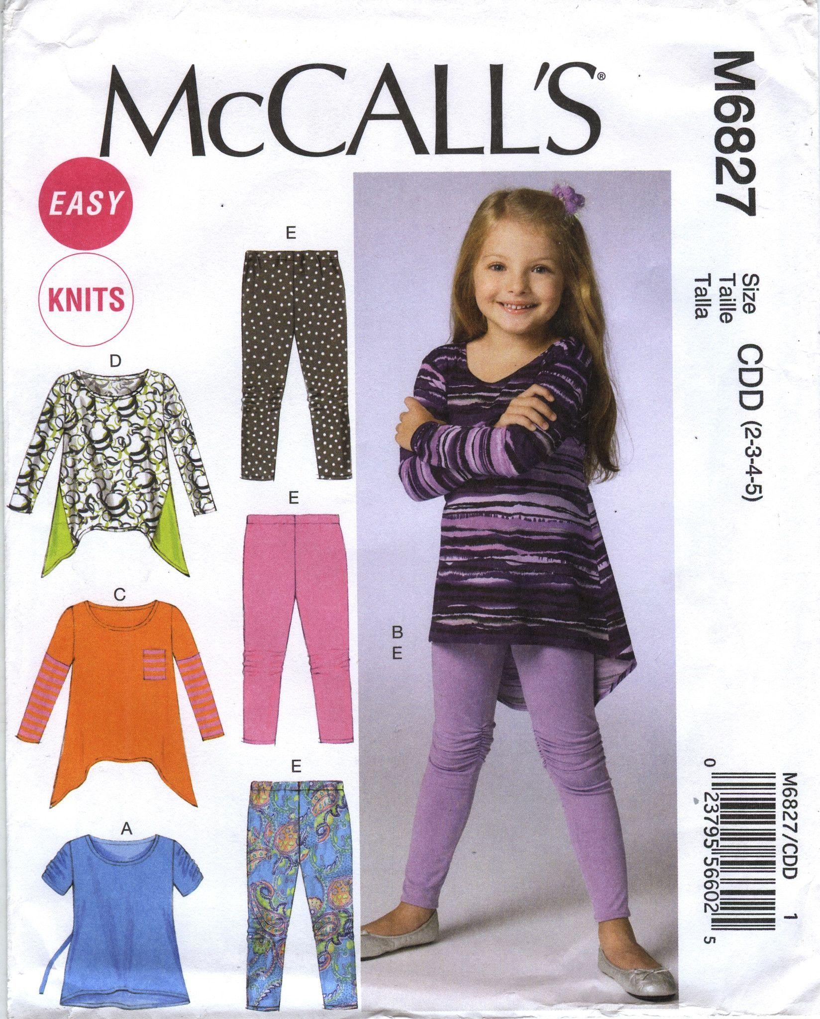 c63277015ece5 McCall s 6827 Children s Girls  Tops and Leggings