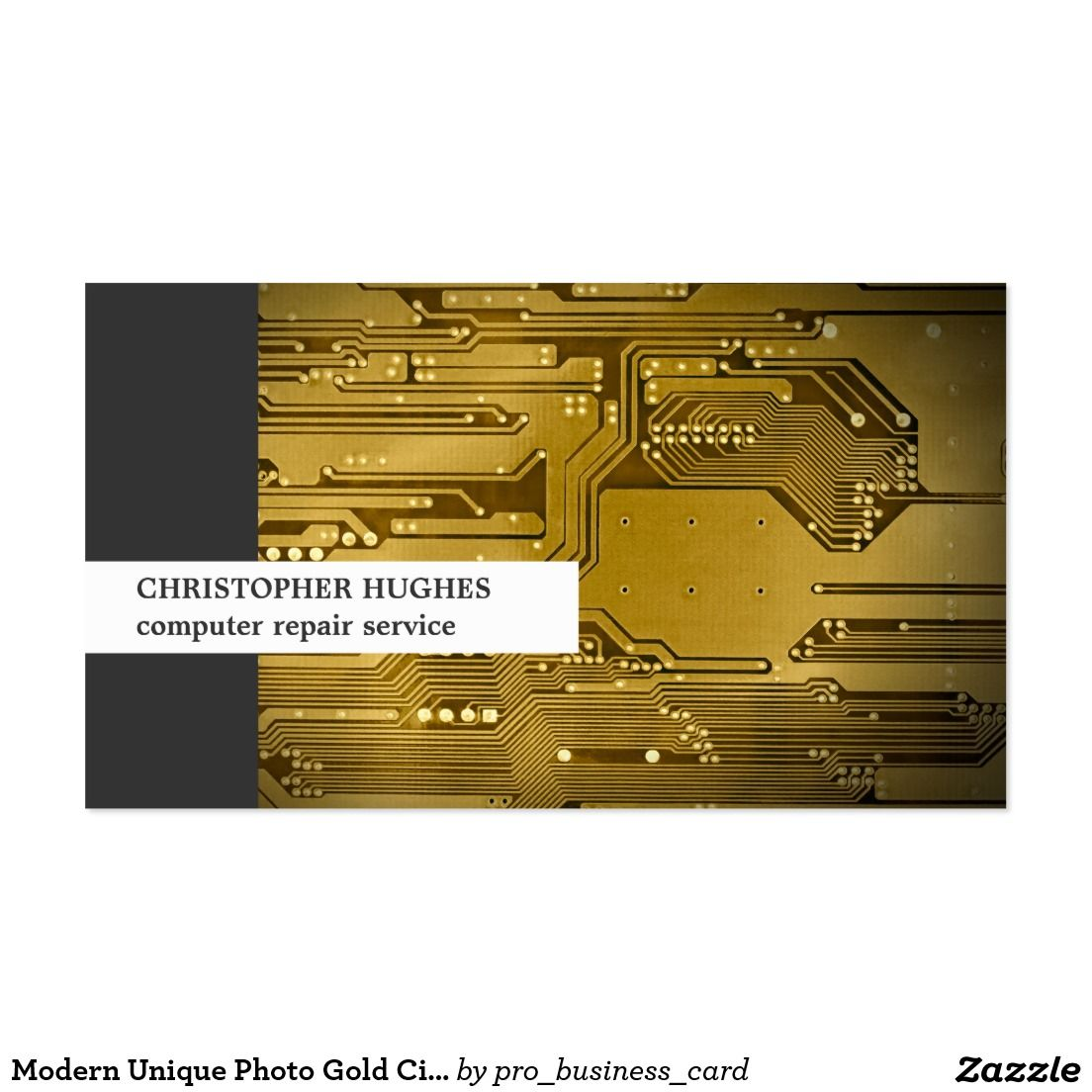 Modern Unique Photo Gold Circuit Board Computer Business Card ...