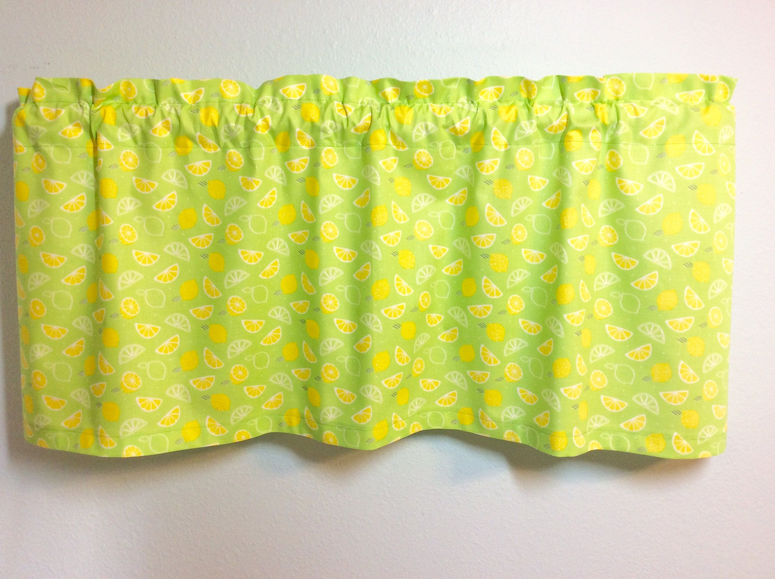 Lemon Green Curtains Lemon Window Valance With Lemons And Limes On Lime Green Fabric