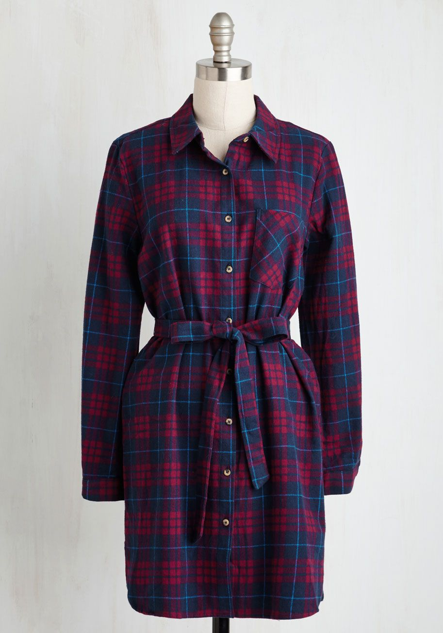 Guest House Getaway Dress. With the fireplace crackling, a mug of hot cocoa in hand, and this flannel shirt dress wrapping you in winsome warmth, your weekend getaway is absolute perfection. #red #modcloth
