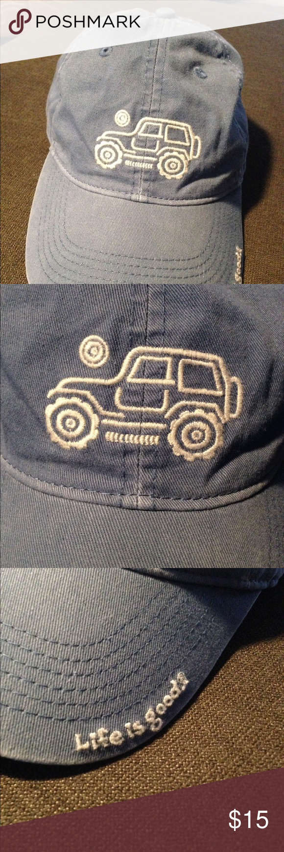 8c91e358 Life is good jeep boys baseball hat new Life is good jeep boys baseball hat.  new no tag. blue. Adjustable snap in back. Jeep embroidered on front.