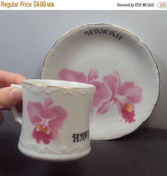 25% OFF Tajima China Pink Hibiscus Hawaii Souvenir Teacup & Saucer
