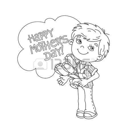 Page Boy Coloring Page Outline Of Cartoon Boy Holding A Bouquet
