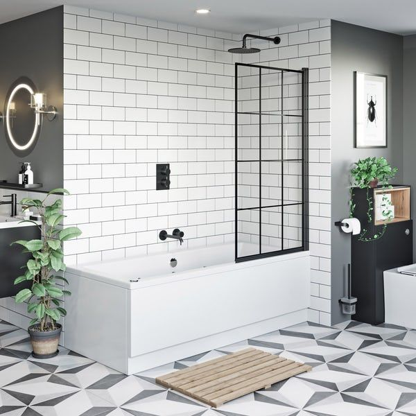 Photo of Mode 8mm black framed bath screen