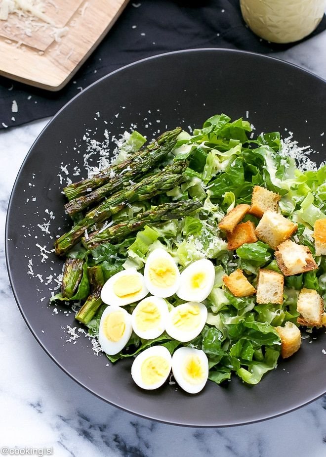 Caesar Salad With Grilled Asparagus And Quail Eggs - Cooking LSL