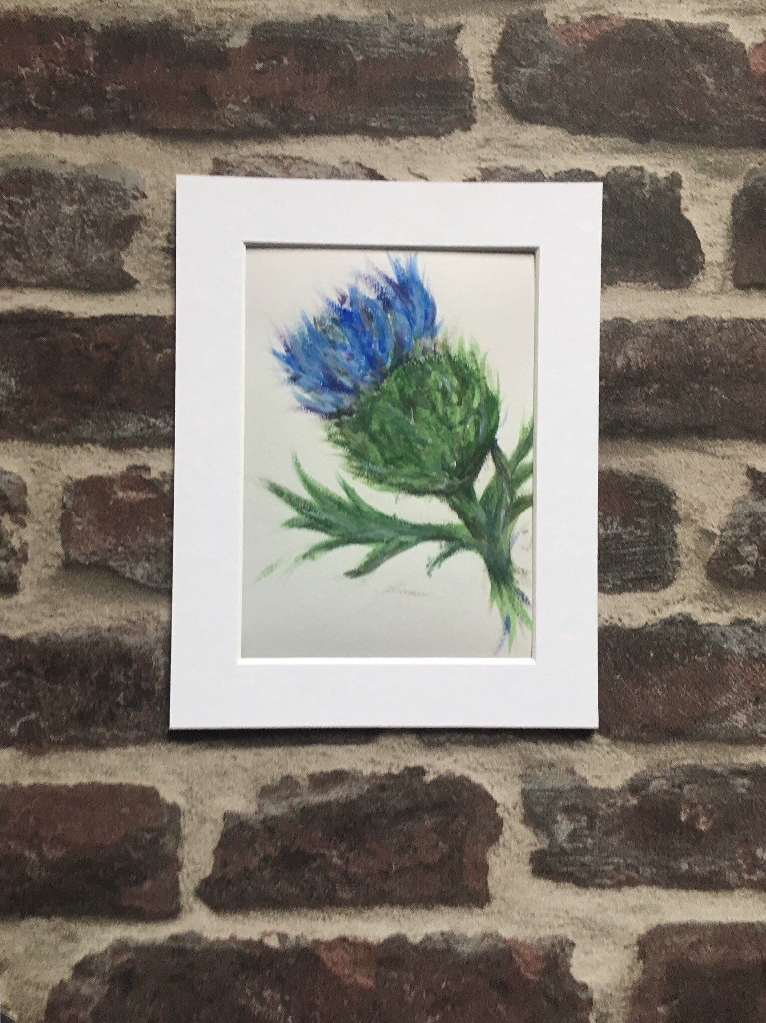 Scottish Thistle Print, Mounted Giclee Print, Flower of
