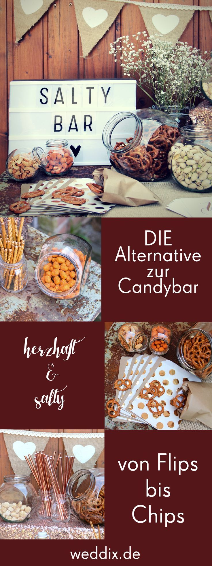 Eine der schönsten Alternativen zur Candybar: Die #Saltybar ! Wer sich von unseren Bildern noch nicht genug inspiriert fühlt, kann sich bei unserem Artikel zu den 6 schönsten Alternativen zur Candy-Bar umsehen 😄 #hochzeit #candybar #inspiration #salty #essen #food
