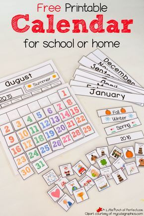 Free Printable Interactive Preschool Calendar  Preschool Calendar