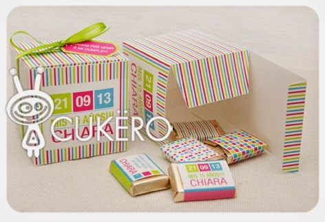 Cajitas  con minichocolates de leche de Cukero Papelería