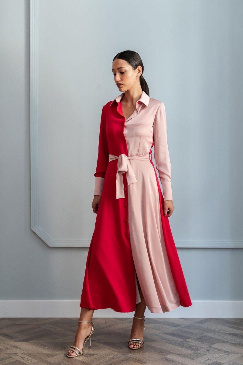 3aeadf8a6 precioso vestido camisero de corte midi de color rojo y rosa para invitadas  apparentia