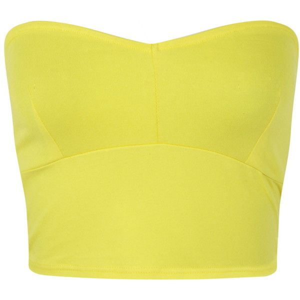 Miss Selfridge Bandeau Top featuring polyvore fashion clothing tops shirts crop top yellow cotton shirts panel shirt cotton crop top bandeau tops