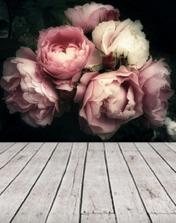 Large Flower Wallpaper, Large Flower Mural Peel and Stick Wallpaper Floral, Removable Floral Wallpaper Soft Roses Black Floral Wallpaper #75