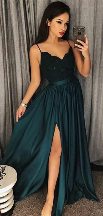 Unieke Avondjurken.A Line Spaghetti Straps Dark Green Prom Dress With Appliques Split