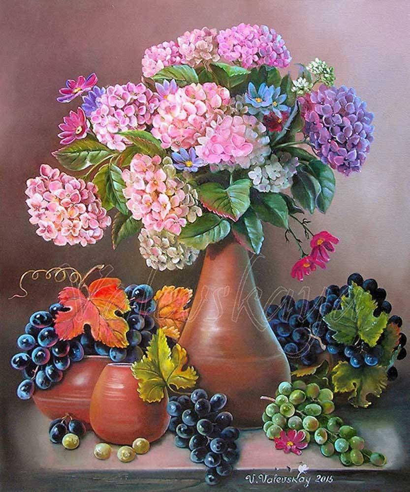Картины (живопись) : Виноград и гортензия   Цветочное ...