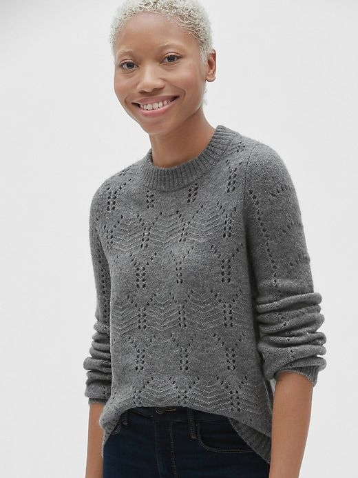 179d1e81f Gap Womens Pointelle Crewneck Pullover Sweater Charcoal Heather ...