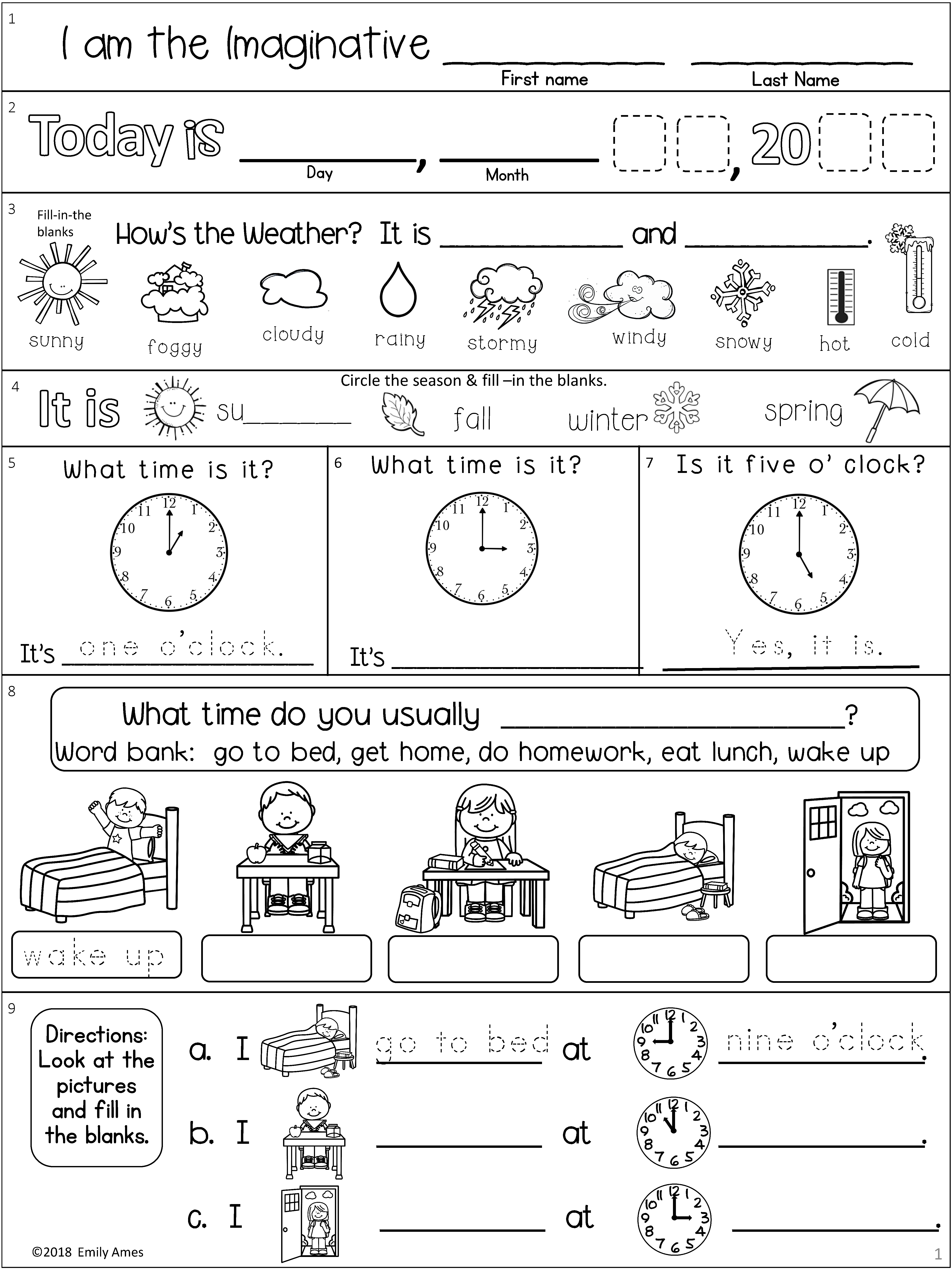 Esl Daily Work Packet 4