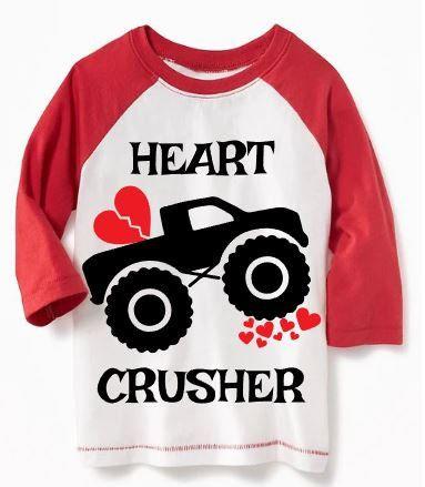 Toddler Valentines Shirt Monster Truck Valentine Boys