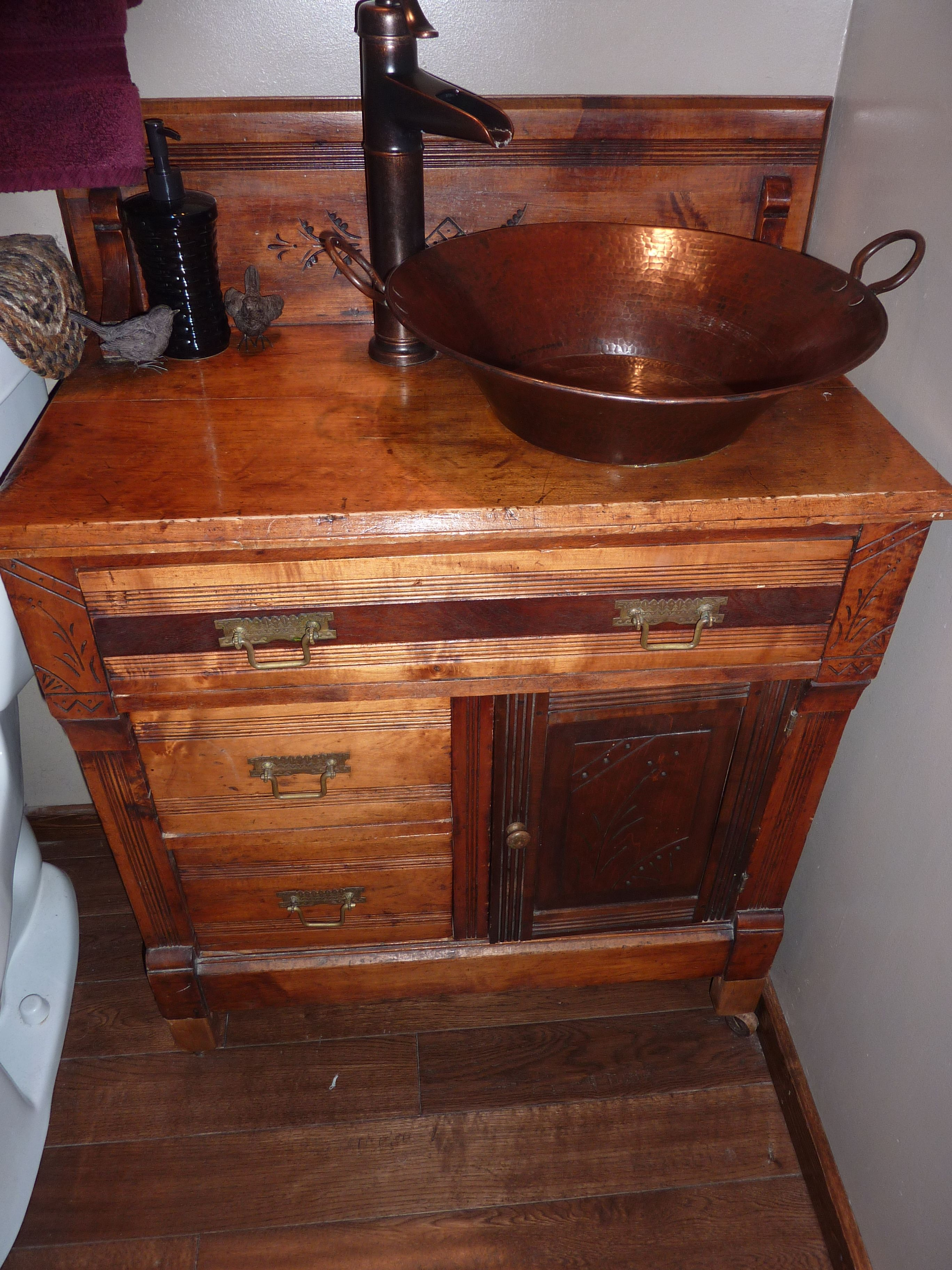 A 100 Flea Market Find Turned A Dry Sink Into A Bathroom Vanity A Copper Sink And Old Fashioned Faucet Bring It Back T Primitive Bathrooms Dry Sink Bathroom
