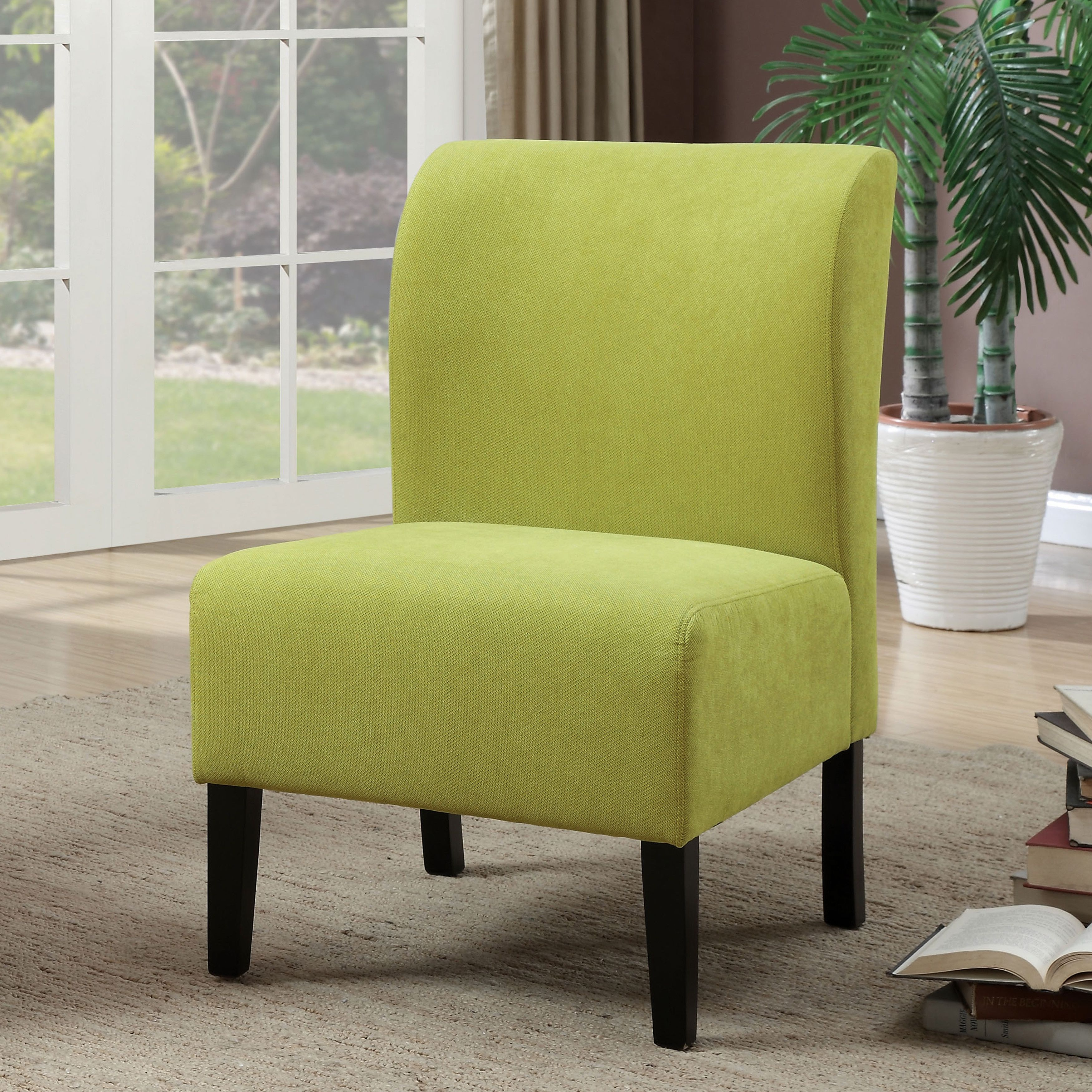 Furniture Of America Varias Modern Flannelette Slipper Chair Green Fabric
