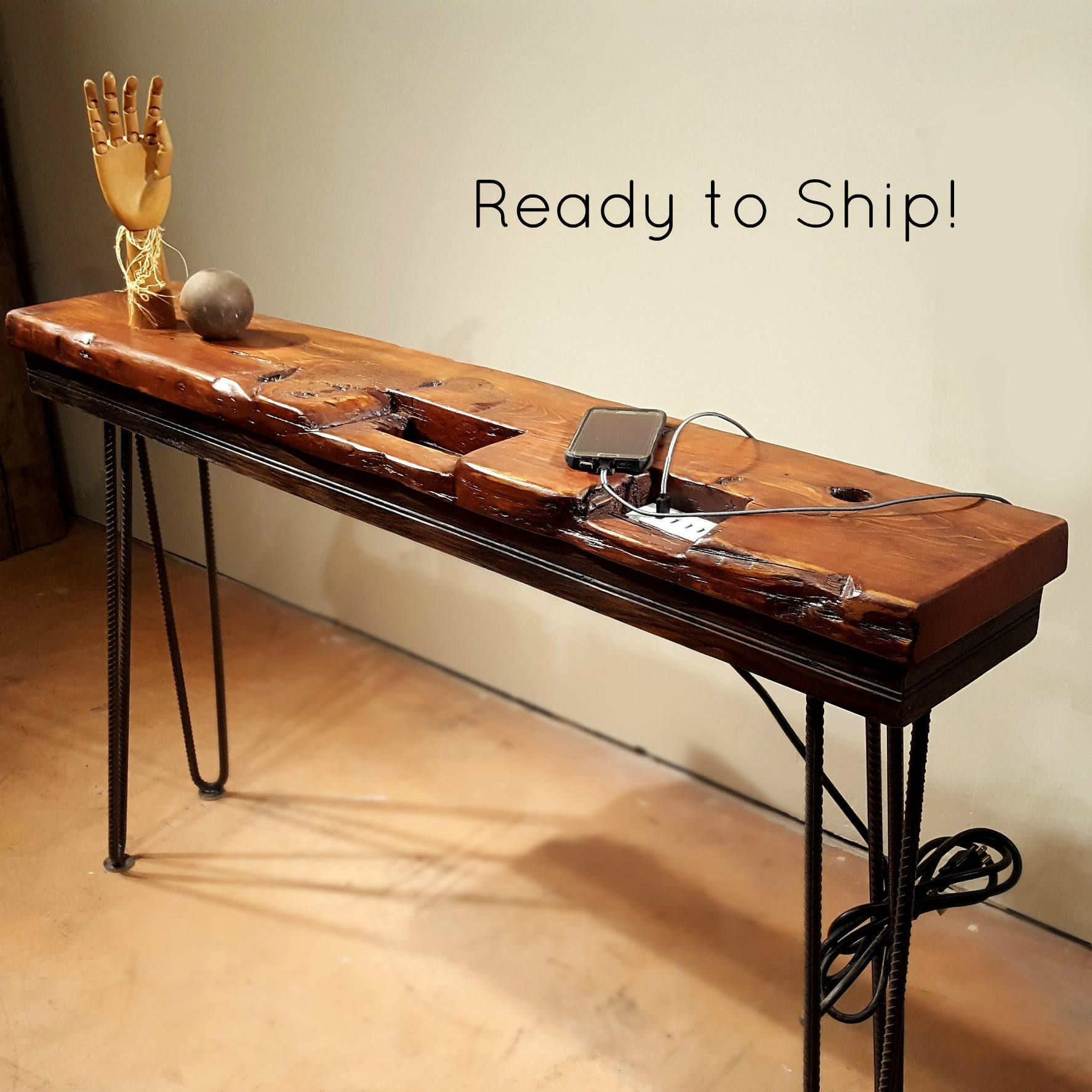Usb Charging Station Reclaimed Wood Console Table Cell