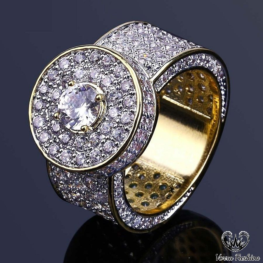 Men S 3d Iced Out Hip Hop 18k Yellow Gold Clear Lab Diamond Pinky