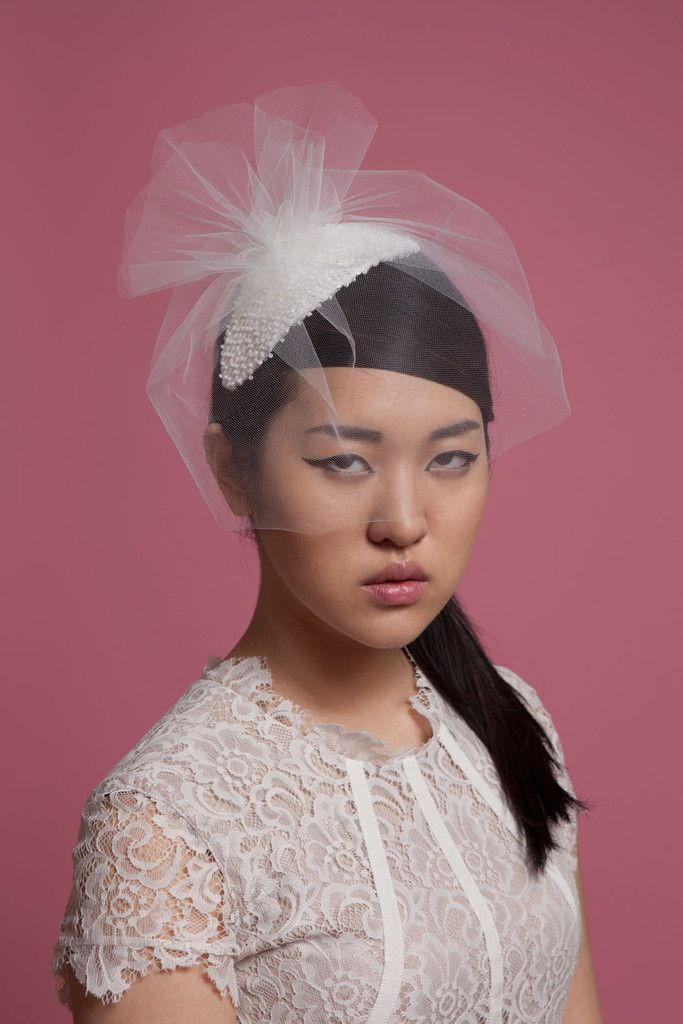 Alice - beaded headpiece with short blusher veil. Cappellino Bridal