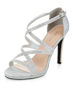0978f6d33f Silver Glitter Strappy Heels | New Look | clothes & shoes in 2019 ...