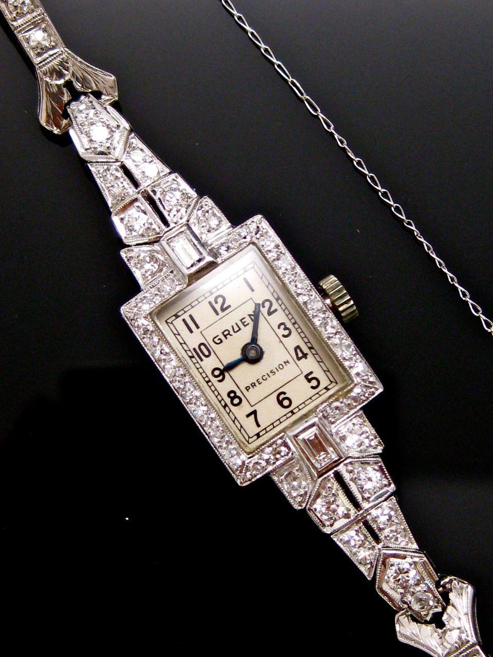 Art Deco Antique Platinum Ladies Diamond GRUEN Wristwatch