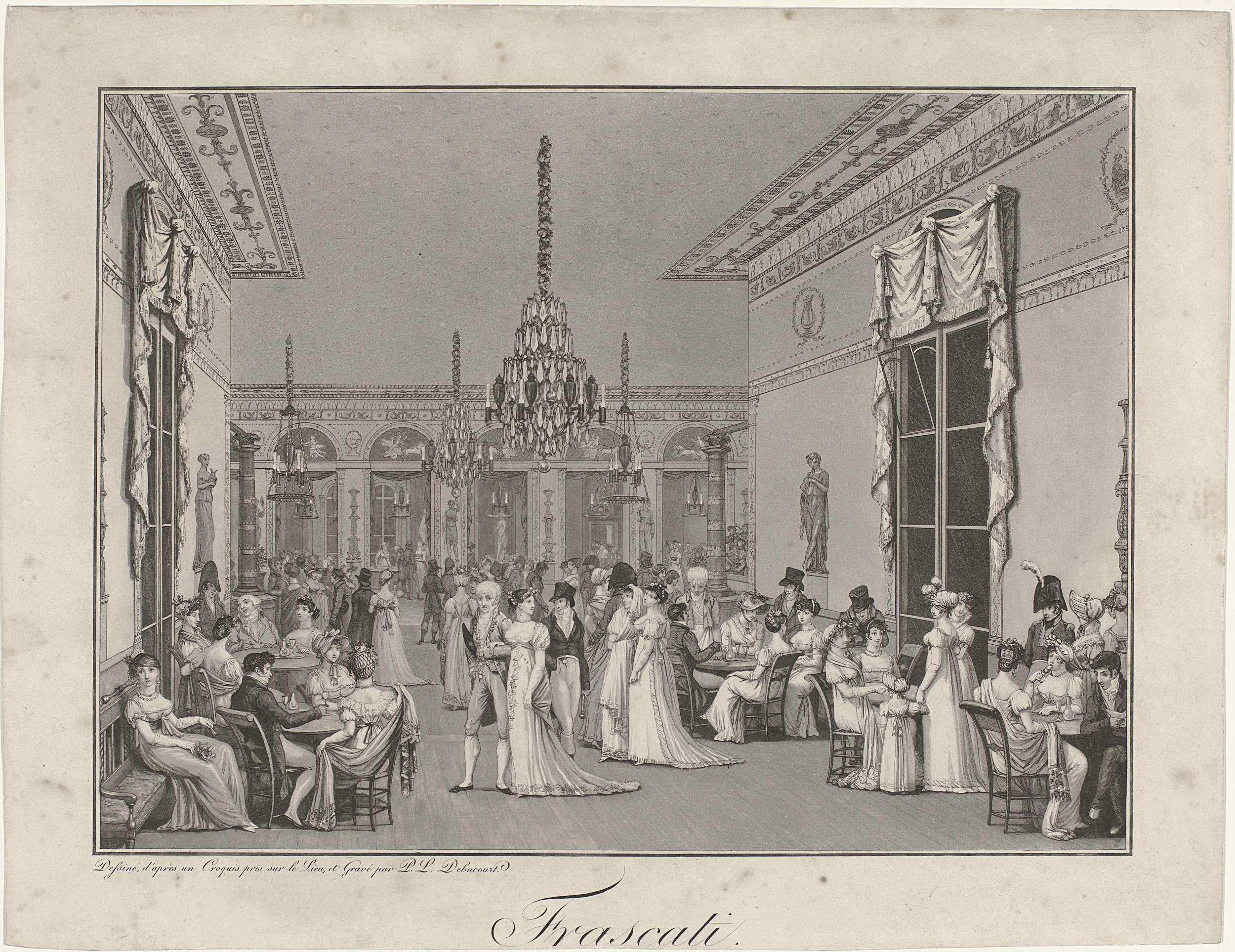 Philibert-Louis Debucourt | The Interior of the Café Frascati, Philibert-Louis Debucourt, 1807 | Interieur van het in 1789 geopende café Frascati bij de Opera in Parijs. Interieur in Empire-stijl met groot aantal bezoekers, zowel staand als zittend aan tafels. Sommigen drinken, anderen nuttigen ijsjes.