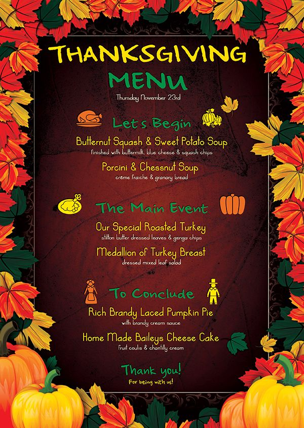 Best Thanksgiving Invitations Images On Dinner Menu Template Planner