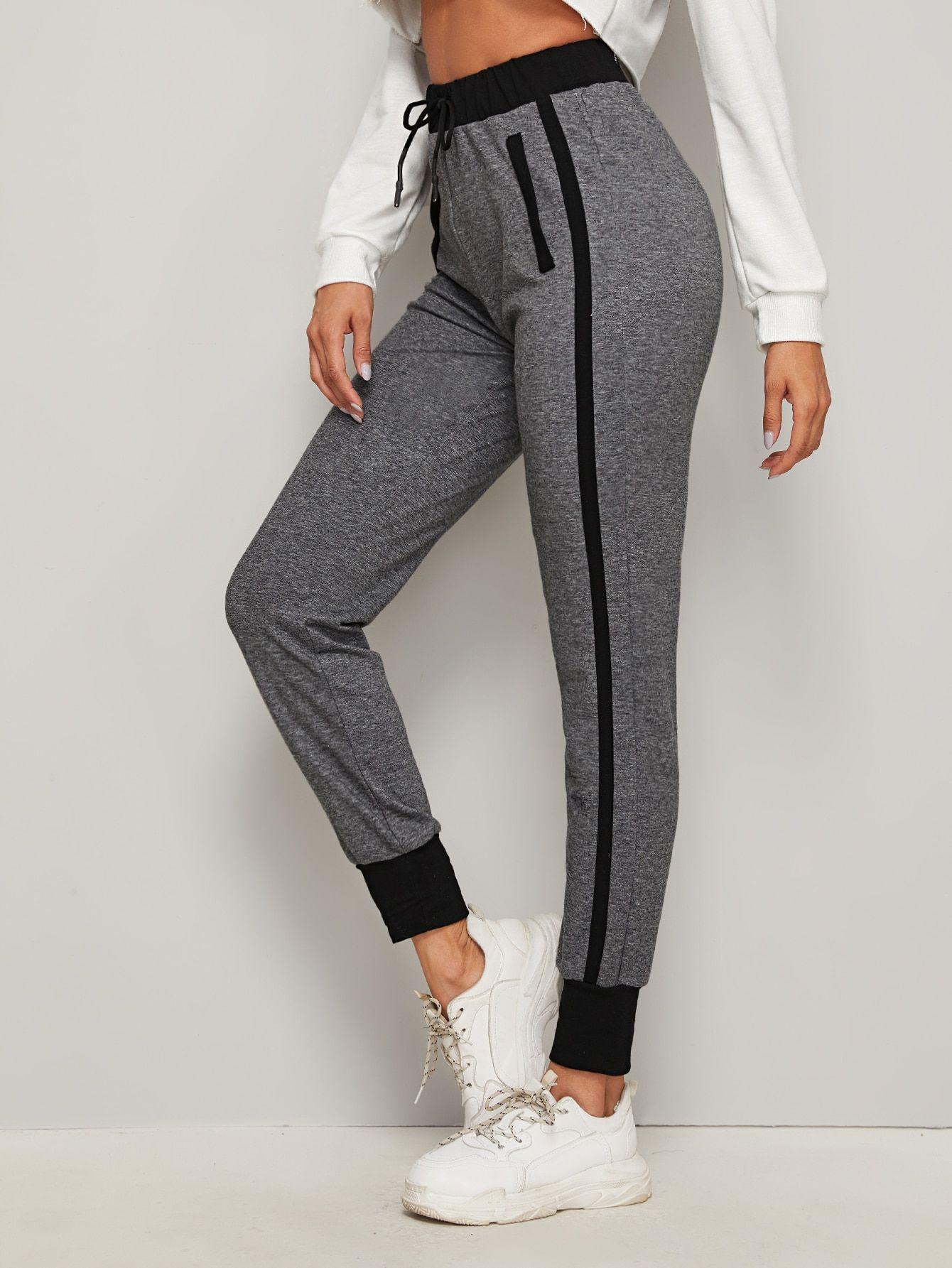 Contrast Trim Heather Grey Sweatpants #Sponsored , #Sponsored, #Trim#Contrast#Heather
