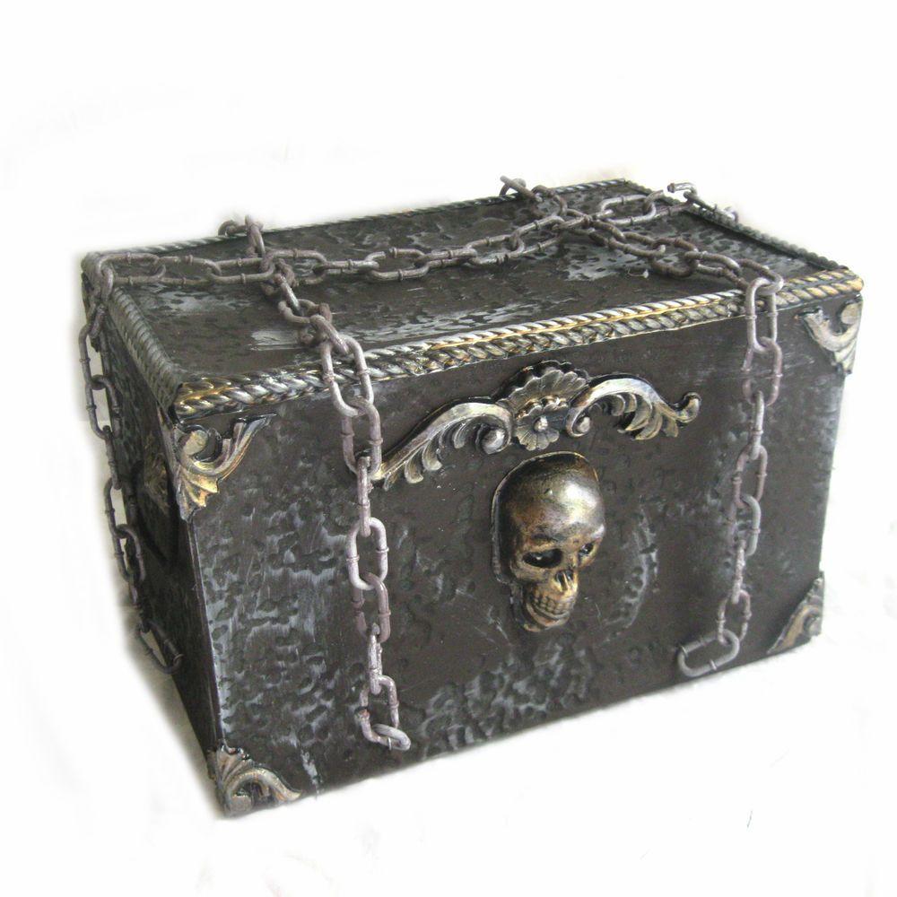 Animated Moving Treasure Chest Box Pirates Haunted House Halloween ...