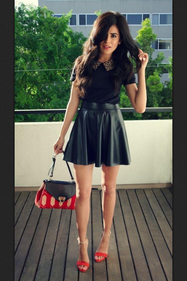 51f69faa85 Leather skater skirt | Imaginary Closet | Leather skater skirts ...