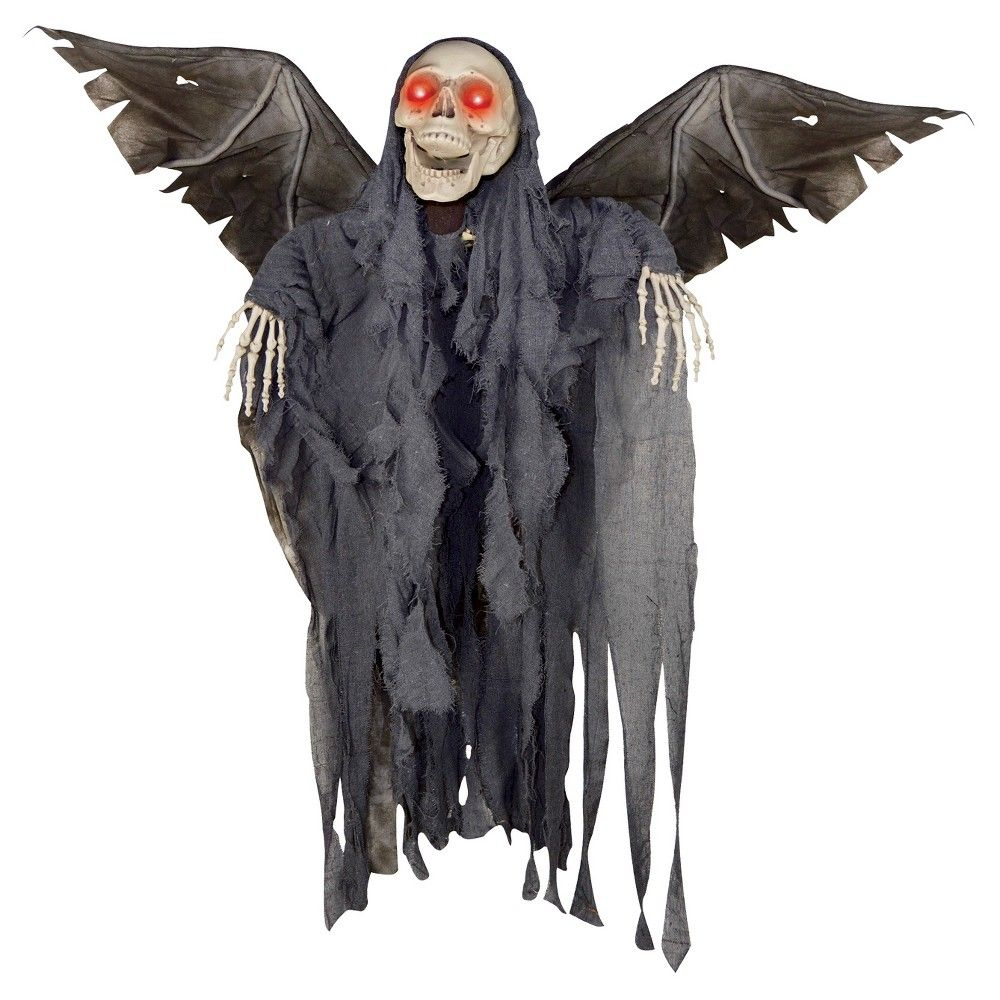 Halloween Animated Winged Reaper, Black Products - Ghost Halloween Decorations