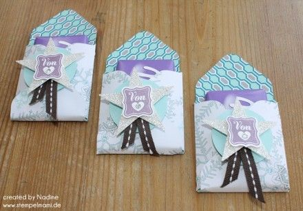 Goodie Stampin Up Envelope Punch Verpackung Box Give Away 004  9,5x9,5 cm, punch at 4,2cm