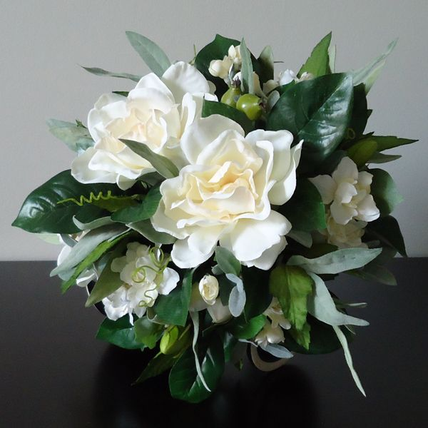 Silk Bridal Bouquet With Gardenias Clusters Of Ivory Larkspur Olive Branches Velvety Myrtle And Clem Gardenia Bridal Bouquet Wedding Flowers Bridal Bouquet