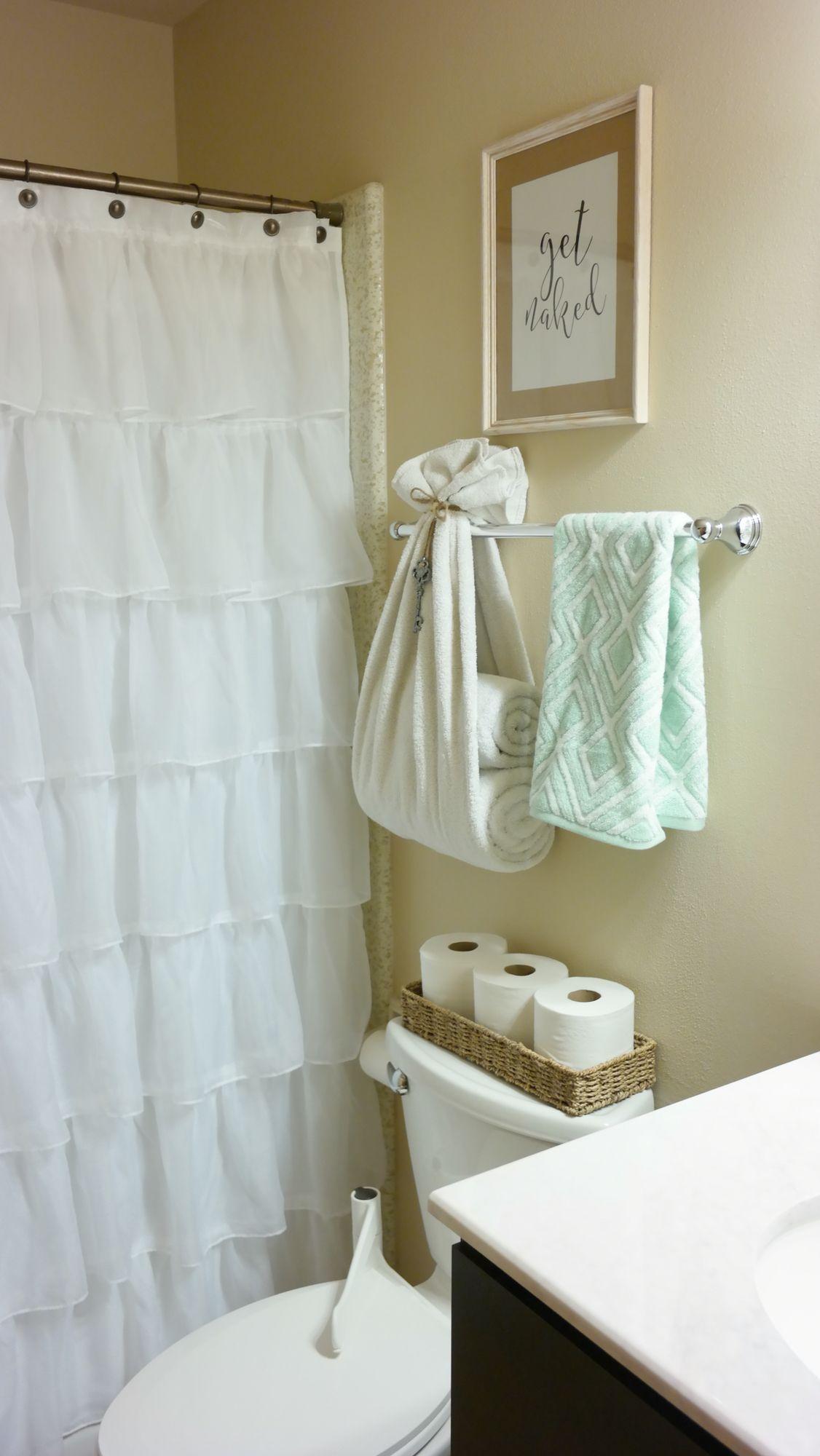 Bright and fresh bathroom decor ruffle shower curtain towel holder