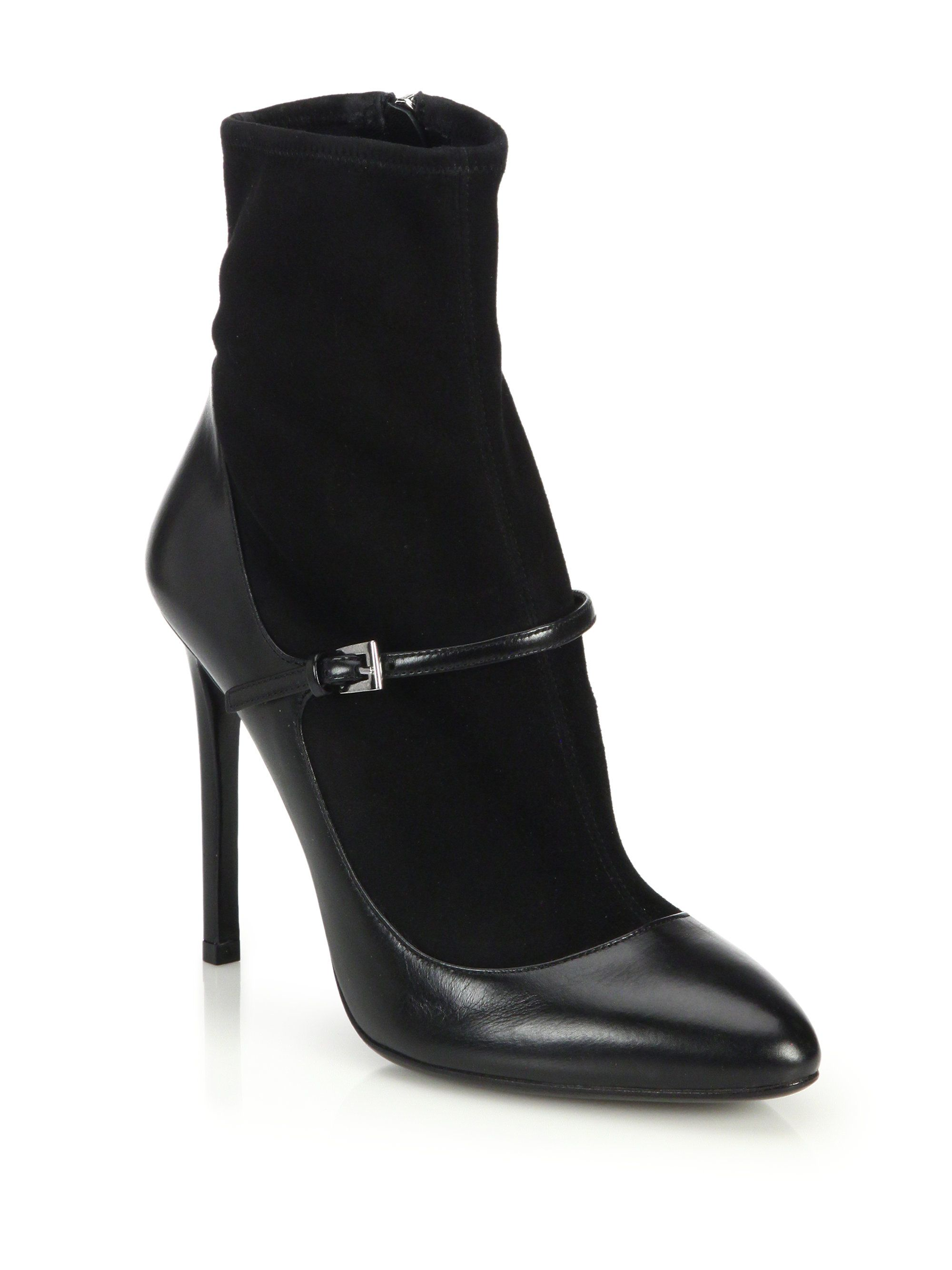 6bc71815dce Women's Black Suede Sock & Leather Mary Jane Booties | Shoes ...