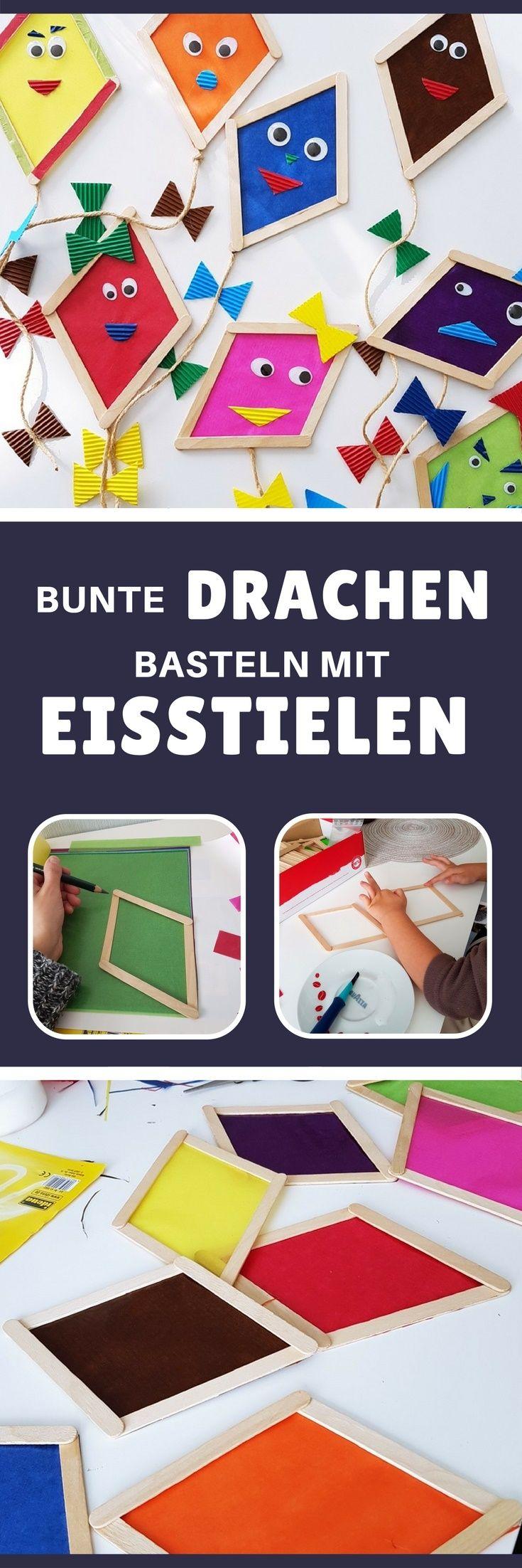 Drachen basteln mit Kindern: Fensterdeko aus Eisstielen | Pinterest ...