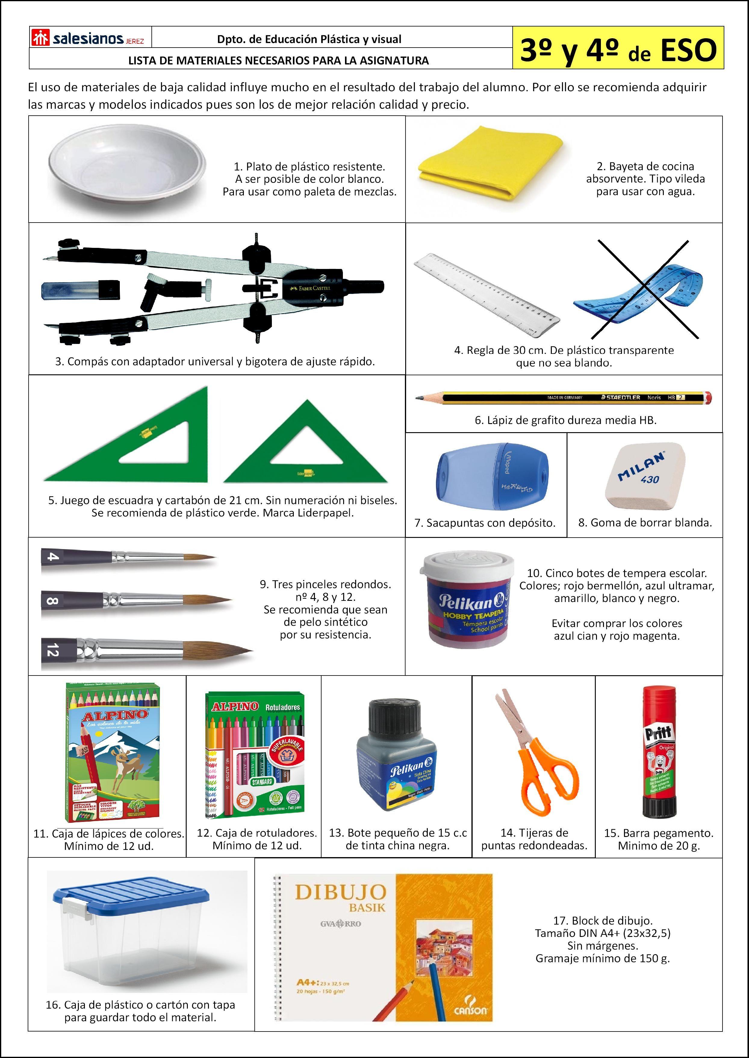 Lista Materiales Necesarios Asignatura Educacion Plastica Y Visual 3º Y 4º Eso Educacion Plastica Y Visual Educacion Plastica Asignaturas