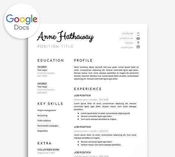 Google Doc Resume Template Pinterest Template, Business resume - google docs resume templates
