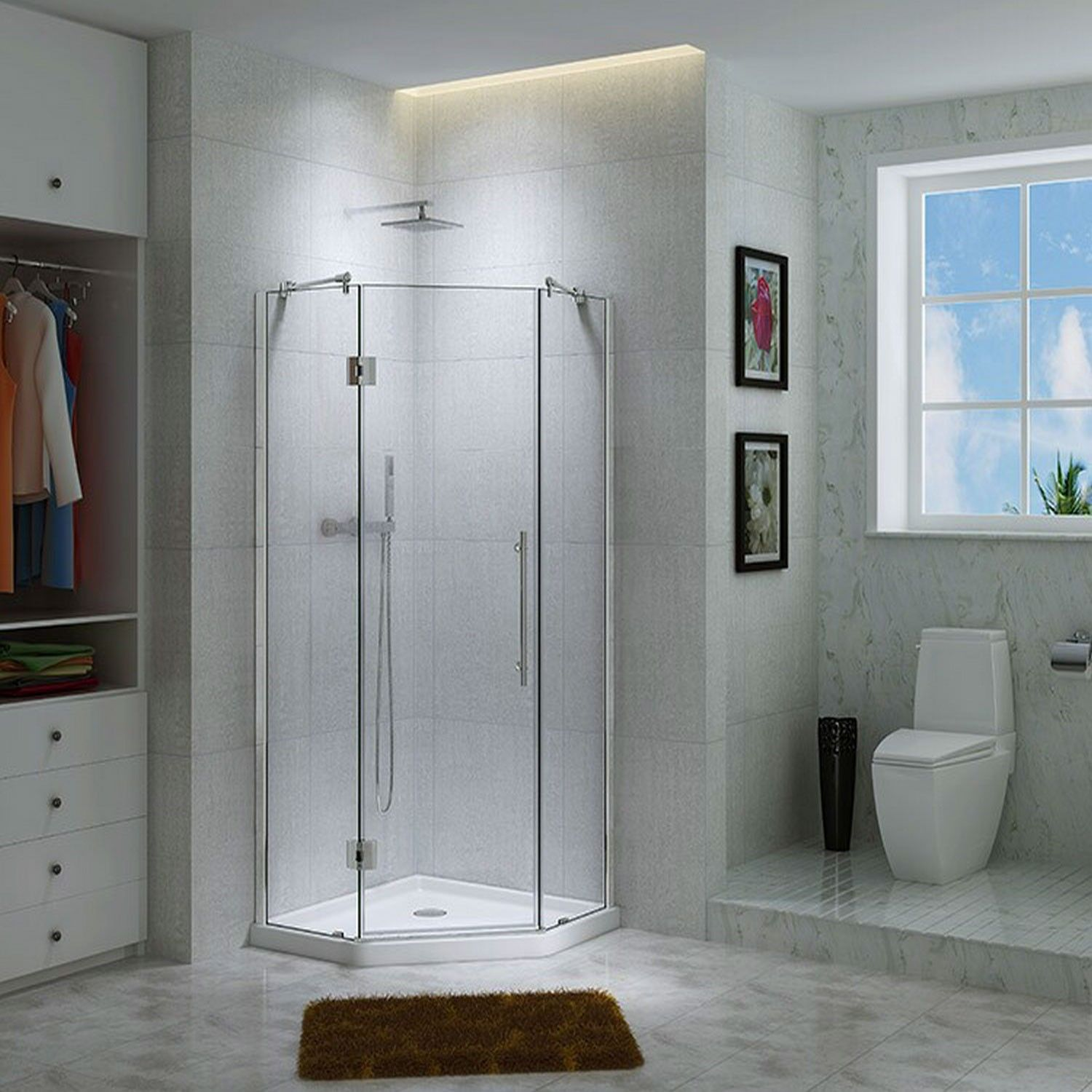 42 X 42 Charlene Corner Shower Enclosure With Tray With