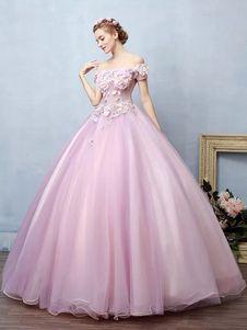 9b6605fb5 Vestido para quinceañeras Rosa púrpura con escote de hombros caídos con manga  corta con aplicación