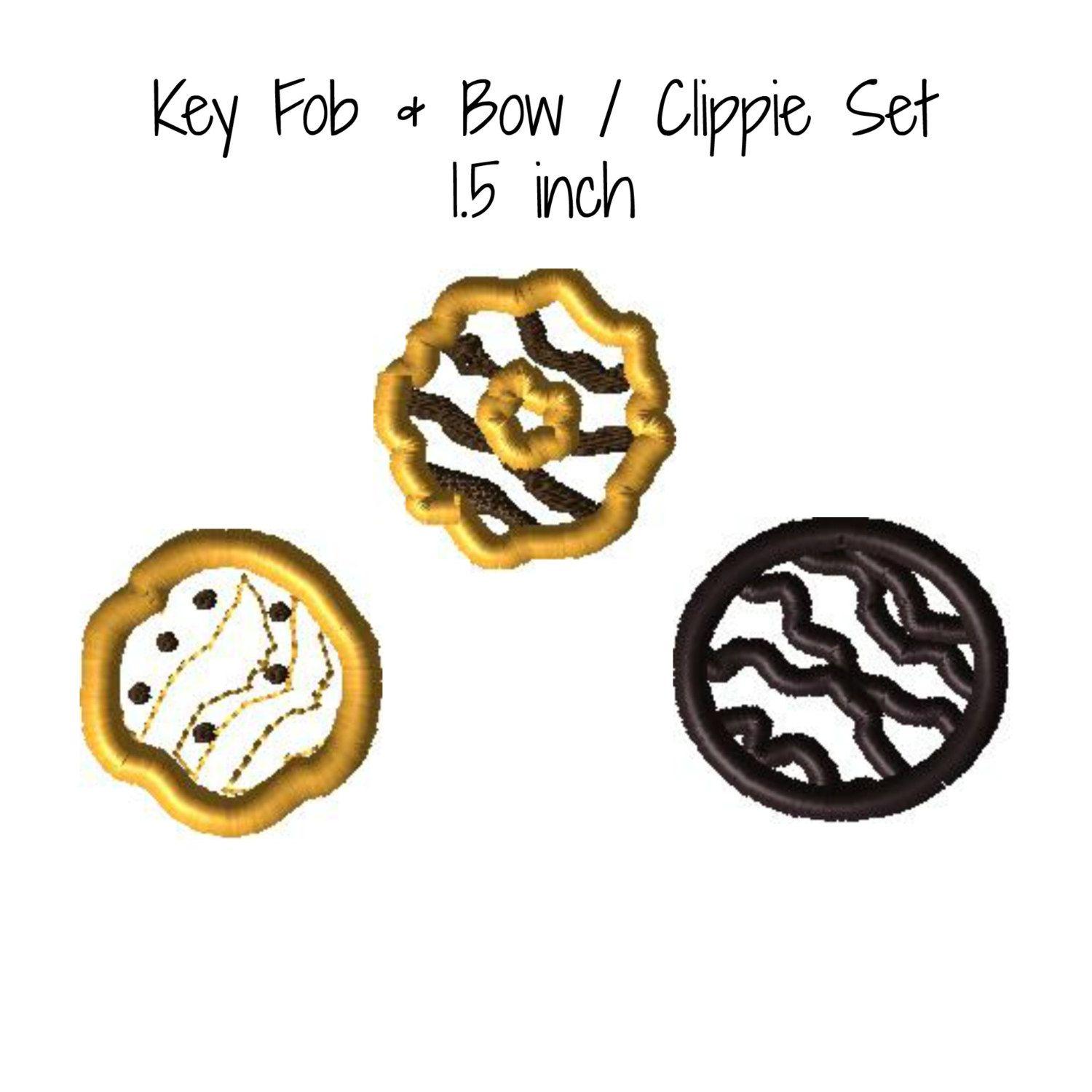 Scout Cookie Key Fob Bow Clippie Applique Set Embroidery Machine Design 3 Designs 1.5 inch Instant Download by appliqueswcharacter on Etsy