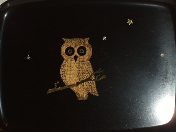 Couroc Night Owl Serving / Bar Tray by northwoodsfrog on Etsy, $29.00