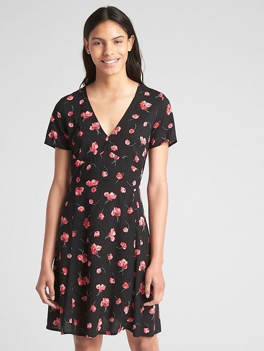 4c3e5fdbb72 Gap Womens Short Sleeve Floral Print Fit And Flare Dress Black Floral