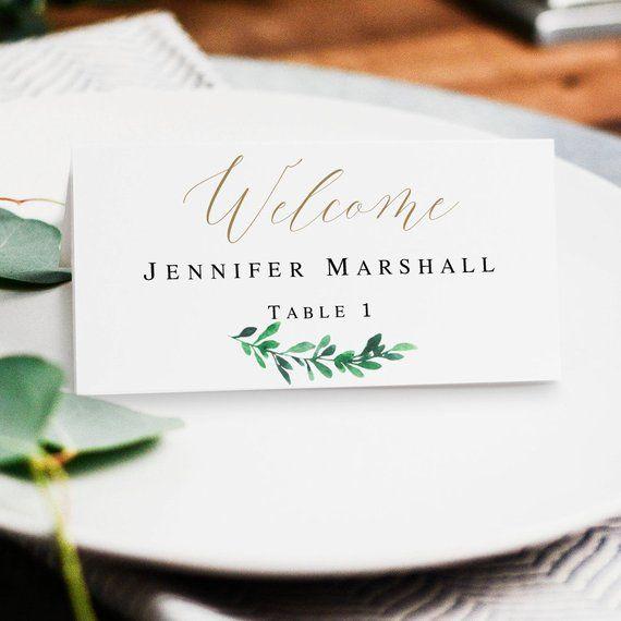 Greenery Place Card Template Diy Cards Printable Seating Wedding Pdf Gr