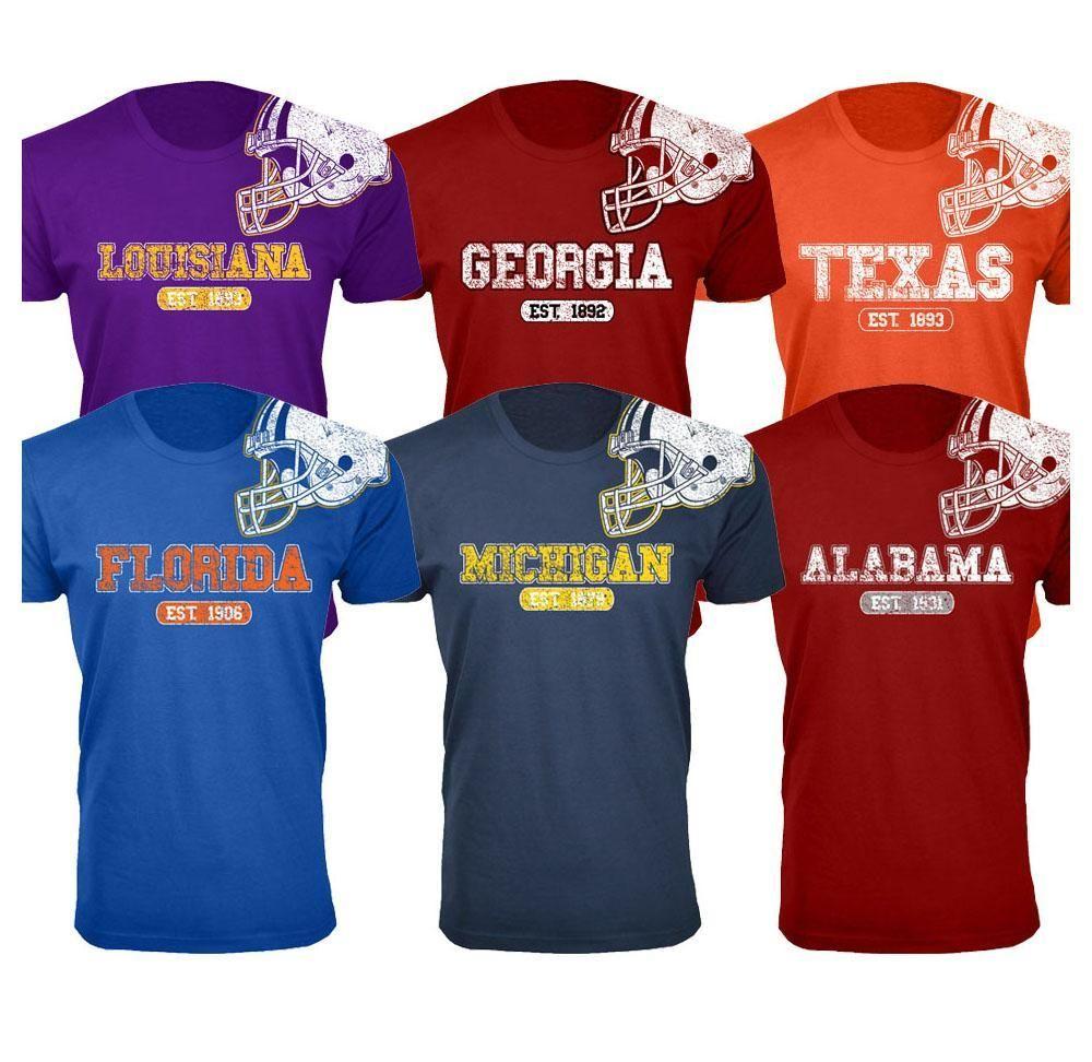 Men's 100% Cotton College Football Helmet T-Shirts – UntilGone.com