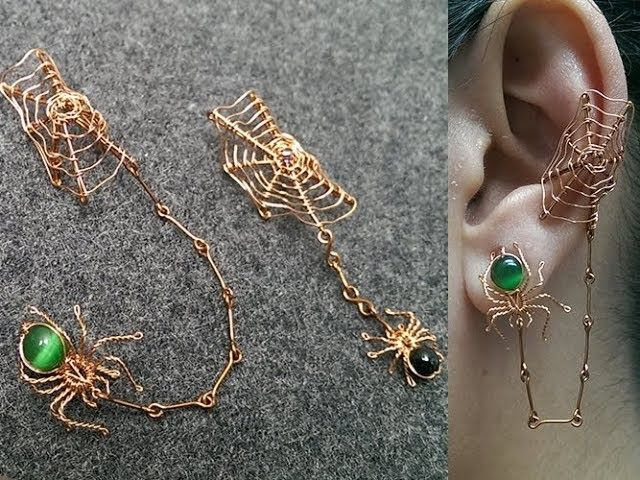 Photo of Spiders and the webs earcuff for Halloween – Halloween jewelry idea 266
