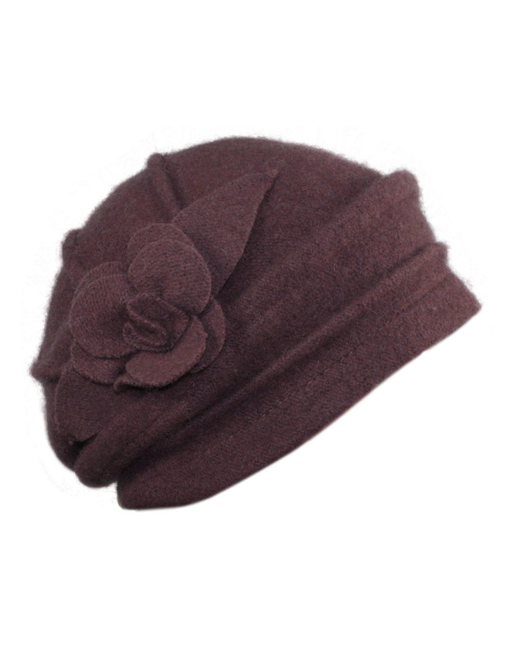 Dahlia Women s Elegant Flower Wool Cloche Bucket Slouch Hat - Black at  Amazon Women s Clothing store  fca0ae75e415